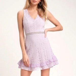 Lulu's Love You Always Lavender Lace Skater Dress